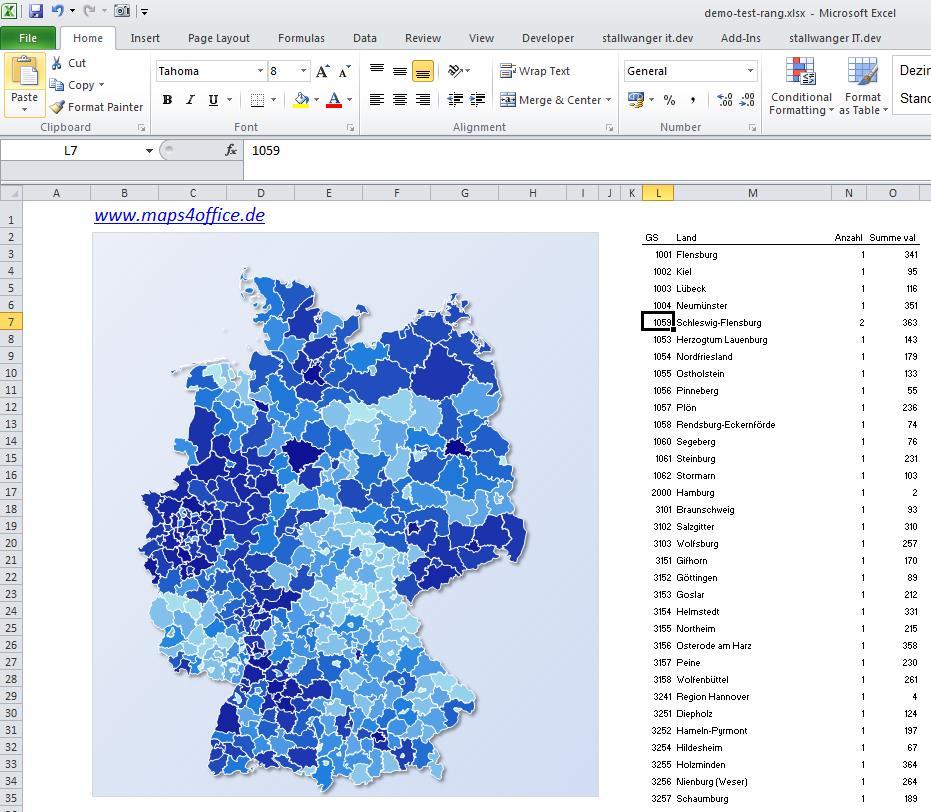 Excel Deutschlandkarte - Zusammenhänge und Daten verständlich präsentieren