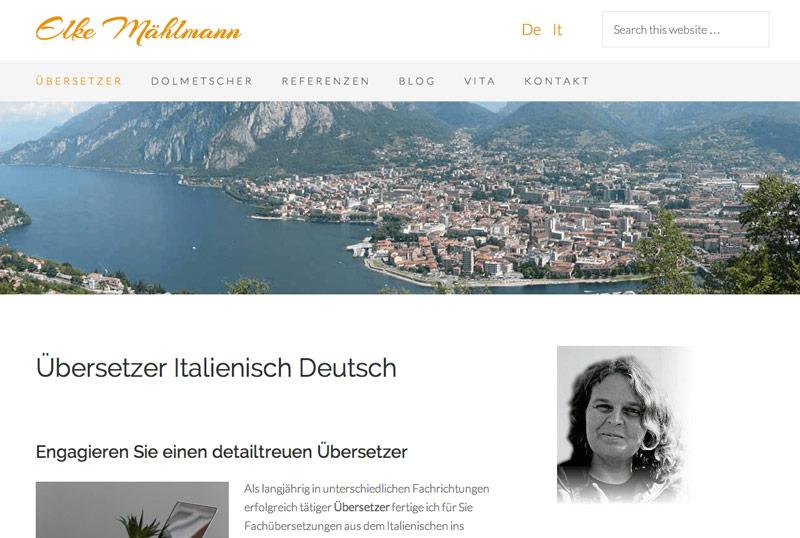 Relaunch der Webseite von Elke Mählmann, Dolmetscherin und Übersetzerin für Italienisch Deutsch.