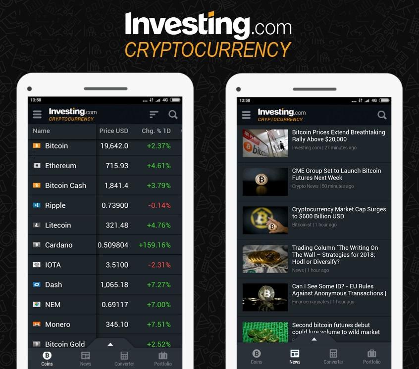 Investing.com gibt Start seiner App für Kryptowährungen bekannt