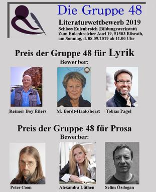Sechs Finalisten treten am 08. September 2019 zum Literaturwettbewerb der Gruppe 48 e.V. an