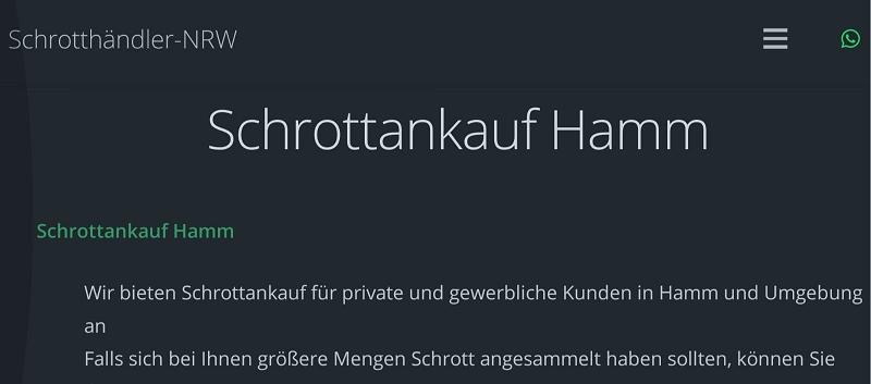 Schrotthändler Hamm & Schrott und Altmetall von ihrem standort zu gute preise kaufen