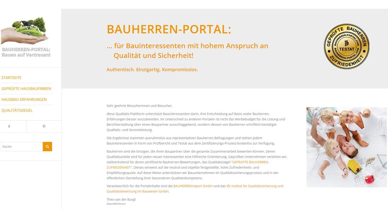 BAUHERREN-PORTAL: Hier zeigen Bauunternehmen ihre Qualitäts- und Servicekompetenz