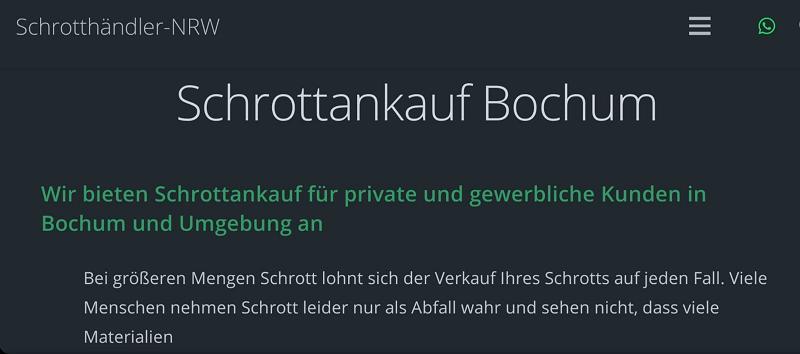 Von Ihrem Standort In Bochum Wir Kaufen Schrott & Altmetall Und Kostenlos Abholung