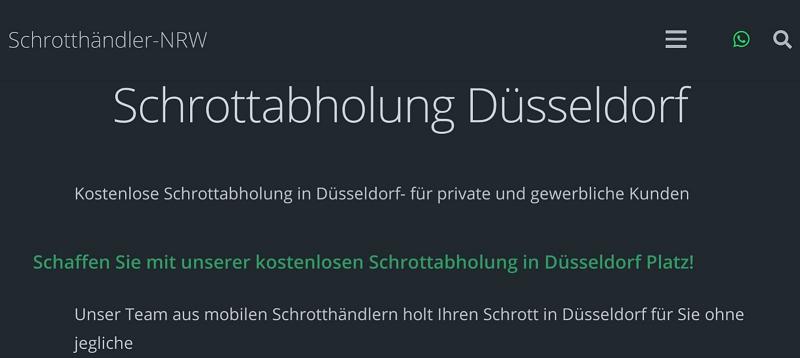 Professionelle kostenlos Schrottabholung in Düsseldorf und Umgebung schneller service