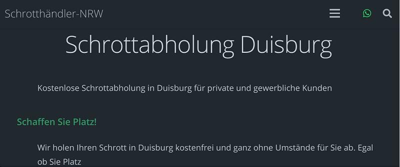 Kostenlose Schrottabholung für private und gewerbliche Kunden in Duisburg und Umgebung