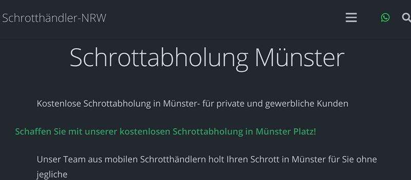 Kostenlose Schrottabholung in Münster durch professionelle Schrotthändler
