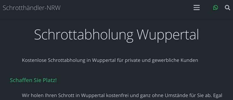 Kostenlose Schrottabholung für private und gewerbliche Kunden in Wuppertal und Umgebung