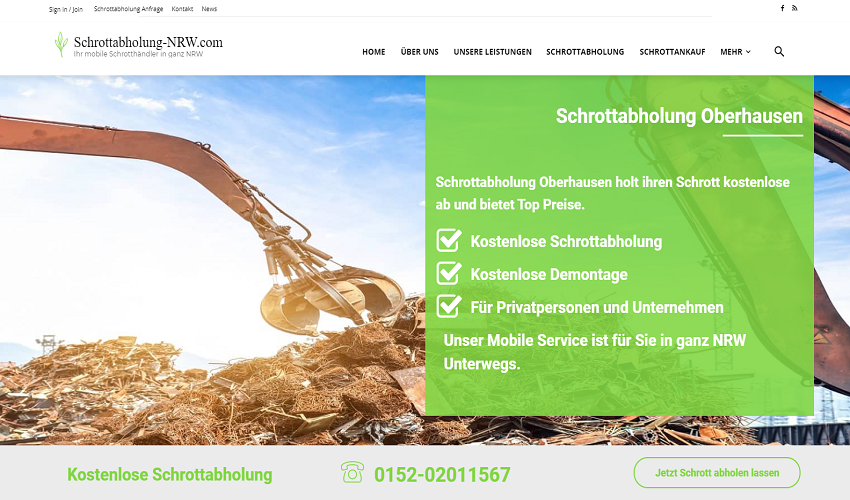 Unsere mobile Schrotthändler in Oberhausen holen Schrott und Metall ab