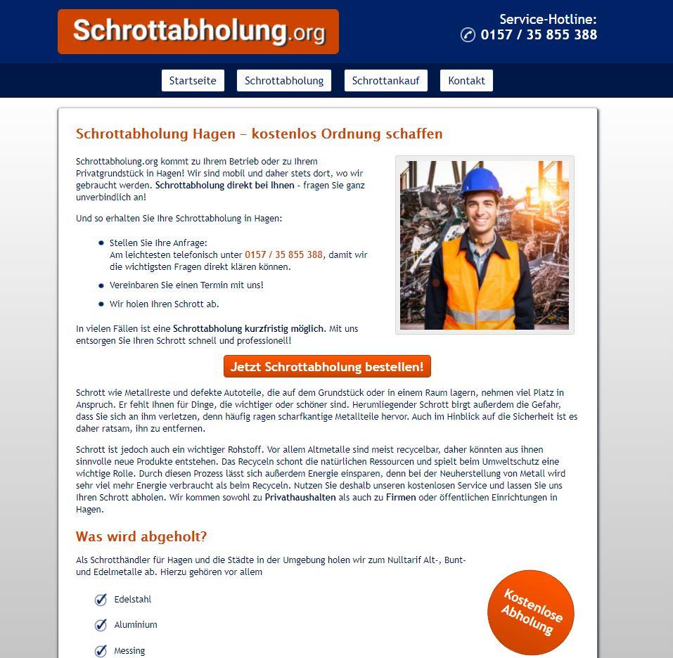 Schrottabholung Hagen - Direkt ohne Zwischenhändler