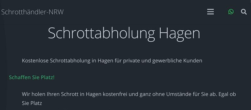 Unser Team aus mobilen Schrotthändlern holt Ihren Schrott in Hagen kostenlos und ohne Aufwand für Sie ab.