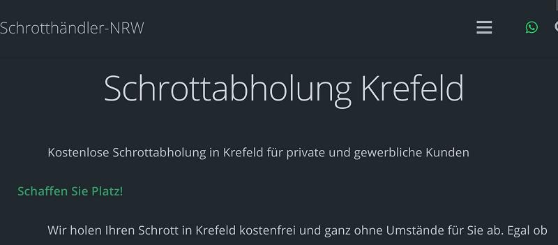 Sie suchen nach einer einfachen Möglichkeit Ihren Schrott loszuwerden in Krefeld