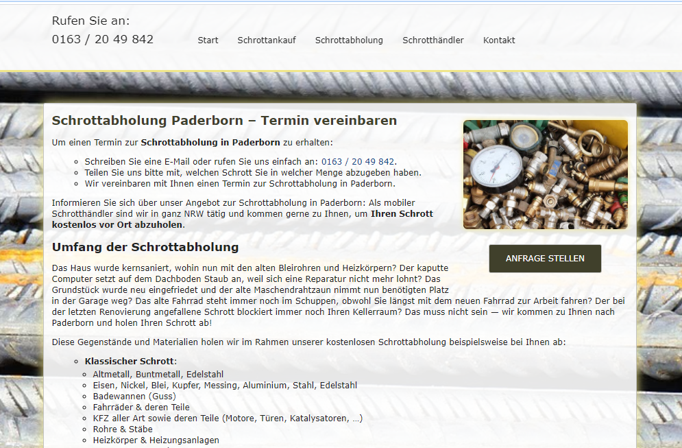 Schrottabholung und Schrottankauf aus einer Hand mit dem Schrottabholung Paderborn