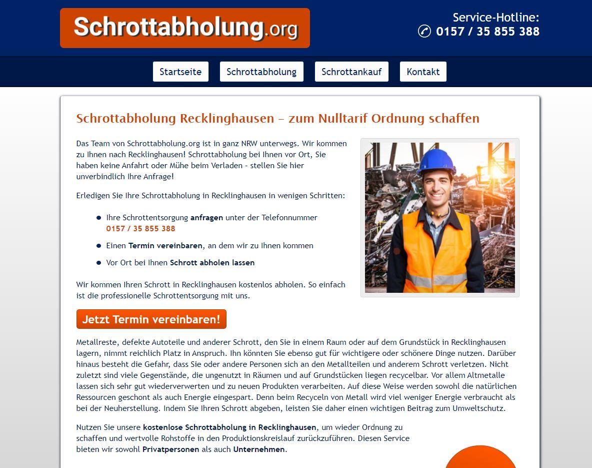 Haushaltsschrott wird von der Schrottabholung Recklinghausen innerhalb des gesamten Recklinghausen Landes abgeholt