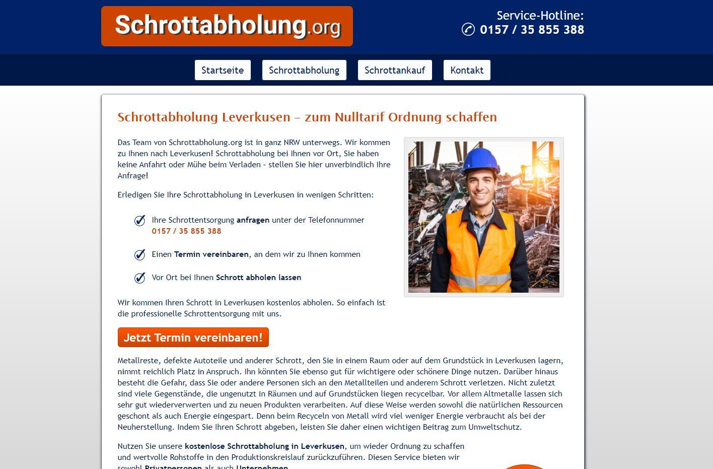 Schrotthändler in Leverkusen bietet Ihnen als Fachmann die schnelle und unkomplizierte