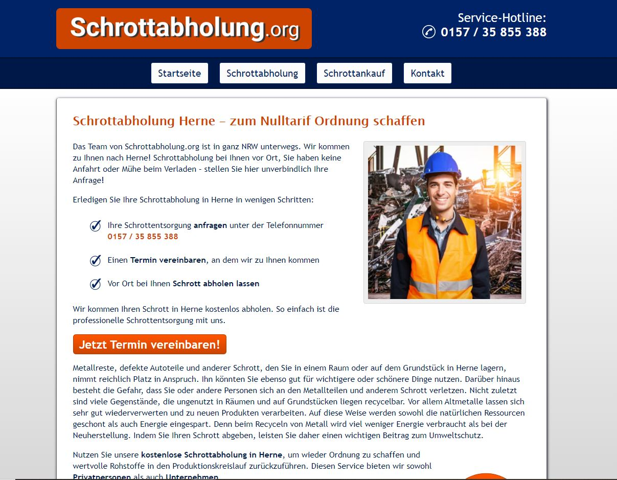 Schrottabholung in Herne: einfach & fair !