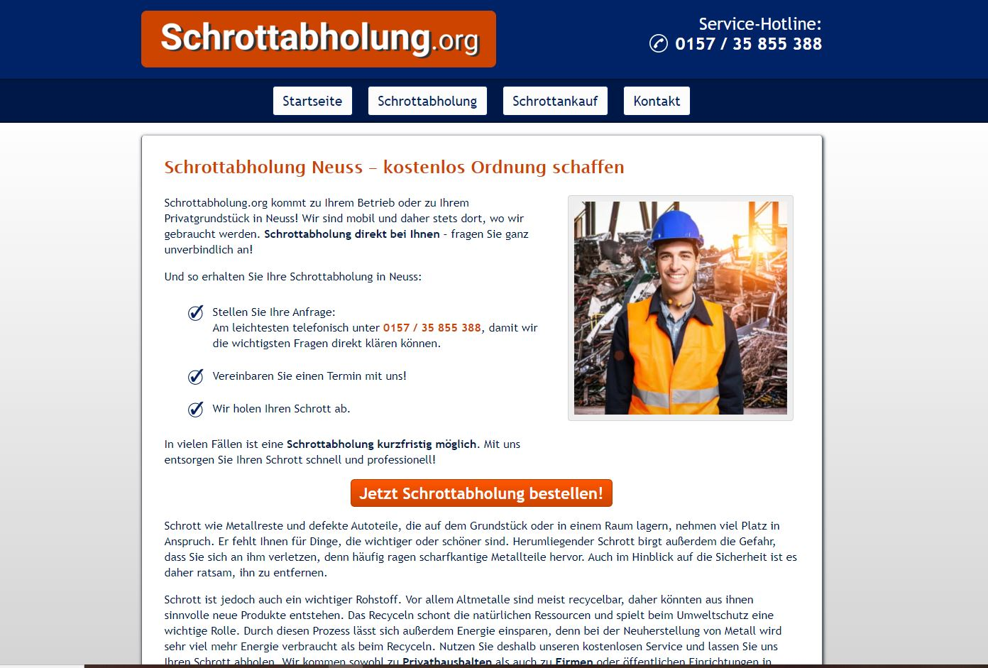 Schrottabholung in Neuss: einfach & fair !