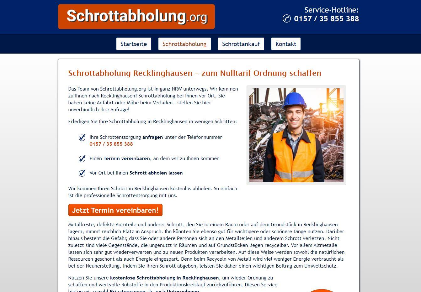 Schrottabholung in Recklinghausen: Schrott aller Art entsorgen