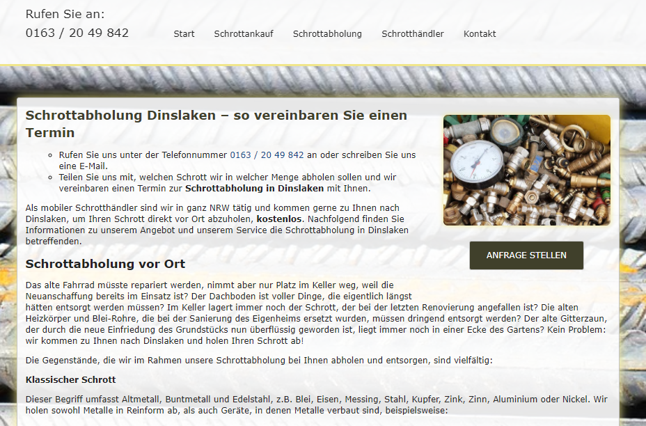 Schrottabholung und Schrottankauf aus einer Hand mit dem Schrottabholung Dinslaken und ganz NRW
