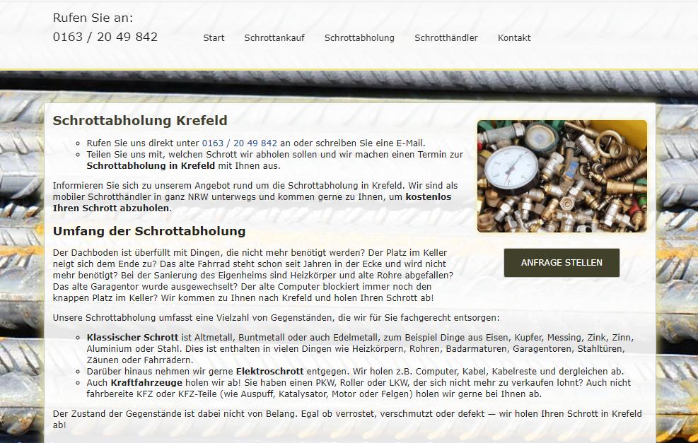 Schrottabholung Krefeld - Sammeln Sie genau alle Arten von Schrott