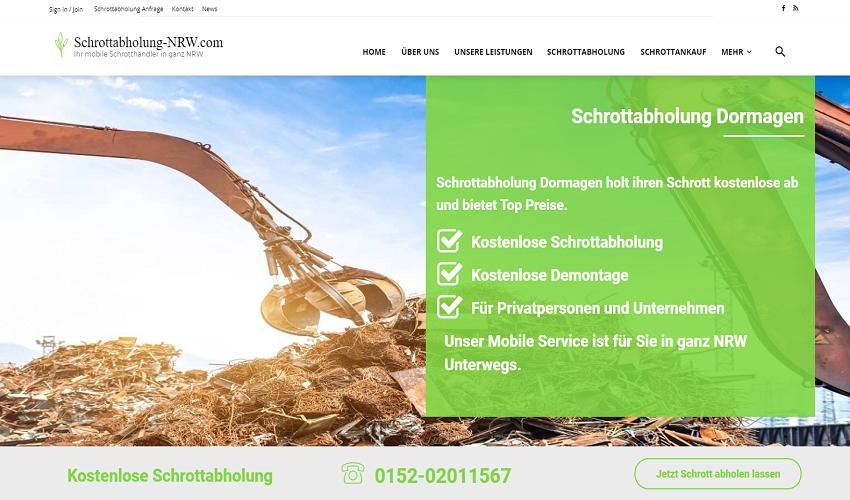 Schrottabholung in Dormagen und in ganz NRW, schnell und zuverlässig