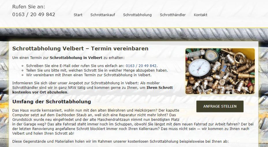 Altmetall abholen : Ihr zuverlässiger Schrotthändler für kostenlose Schrottabholung, Ankauf von Altmetall und Schrottankauf in Velbert