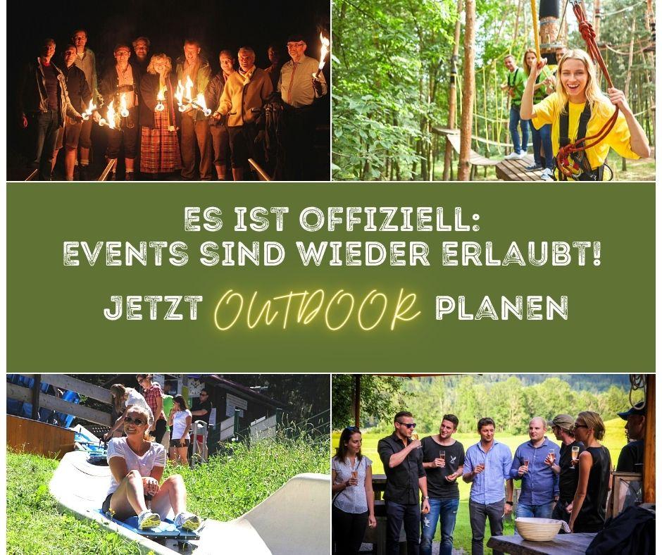 Es ist offiziell! Events sind wieder erlaubt - Jetzt Outdoor planen: Workshop, Teambuilding oder ein unvergessliches Sommerfest