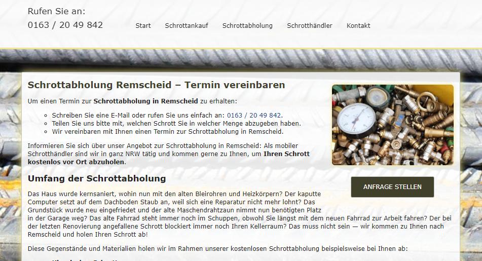 Schrottabholung in Remscheid